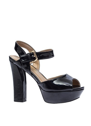 Ves Ves Deri Siyah Topuklu Ayakkabı Siyah